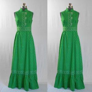 Hear Say | Vintage 1970s Green Prairie Maxi Dress